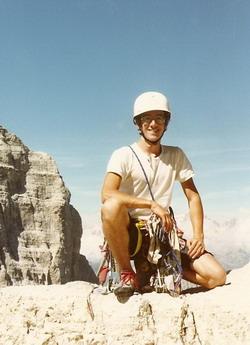 Après l'escalade dans les Dolomites en 1989